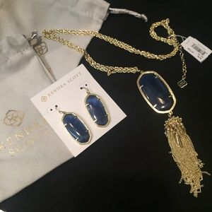 NWT Kendra Scott Earrings and Necklace Set Navy